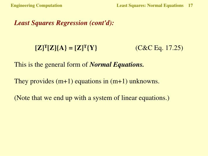 Engineering Computation  Least Squares: Normal Equations