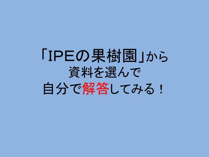 「IPEの果樹園」
