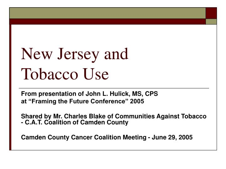 new jersey and tobacco use