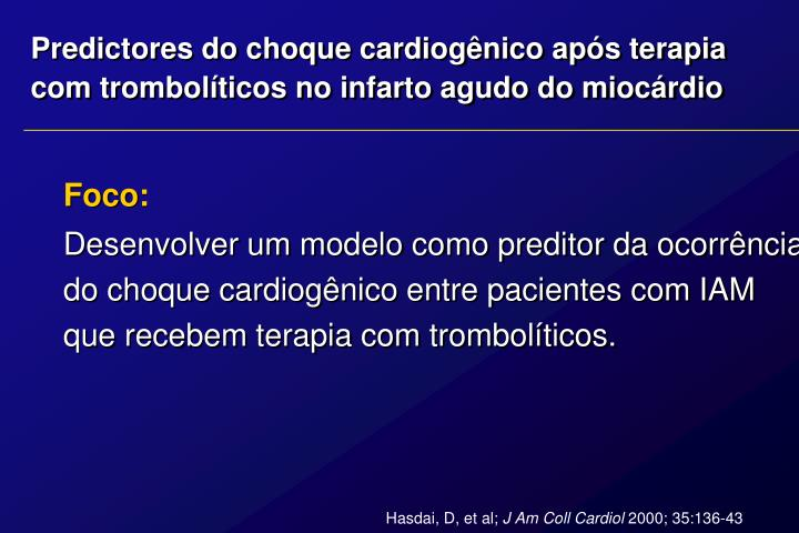Predictores do choque cardiogênico após terapia
