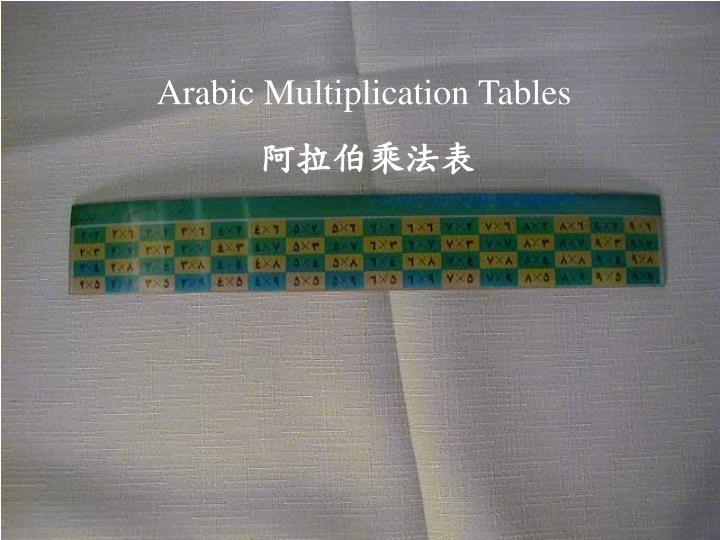 Arabic Multiplication Tables