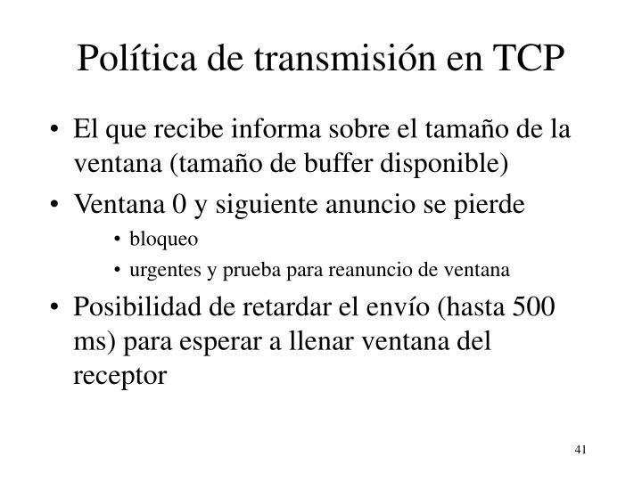 Política de transmisión en TCP