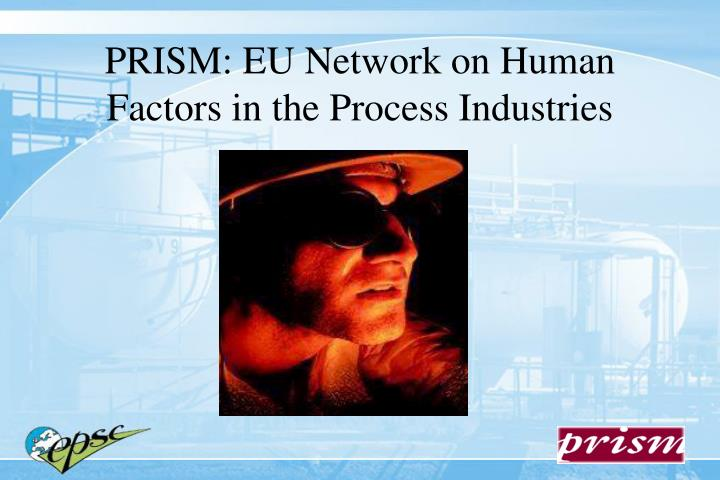 Prism eu network on human factors in the process industries