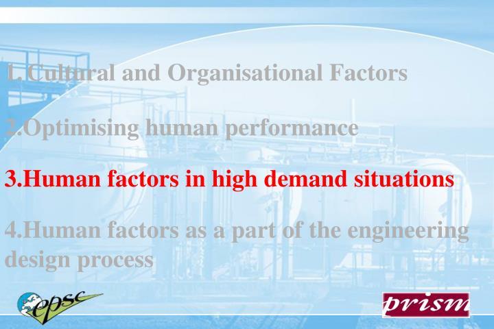 Cultural and Organisational Factors