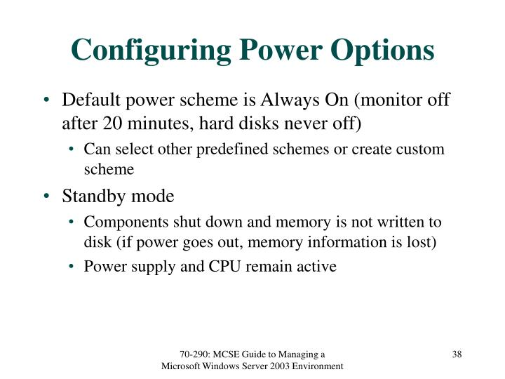 Configuring Power Options
