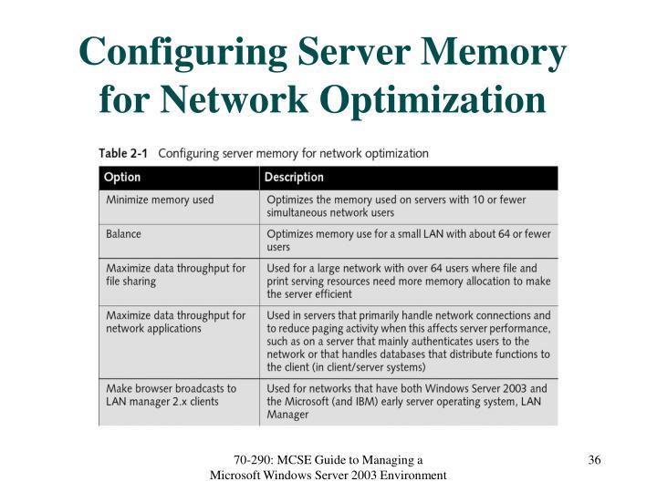 Configuring Server Memory for Network Optimization
