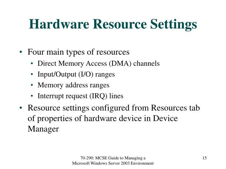 Hardware Resource Settings