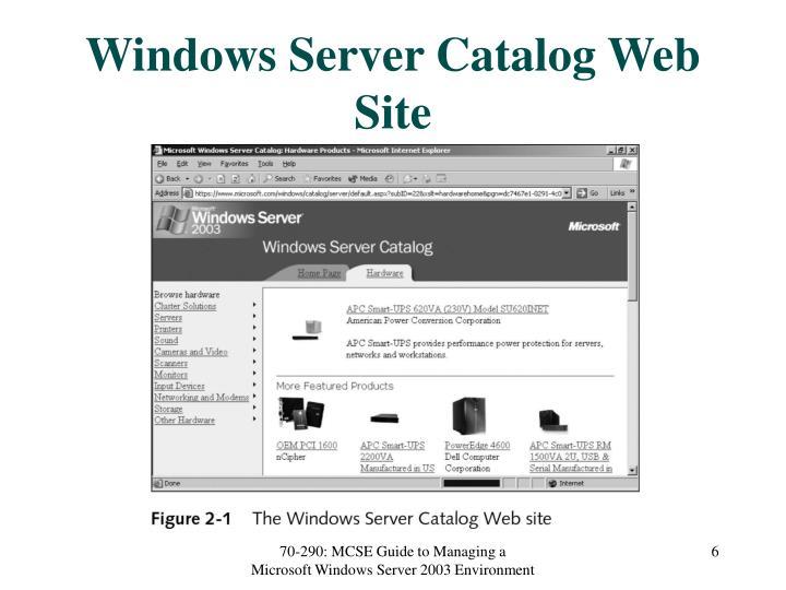 Windows Server Catalog Web Site