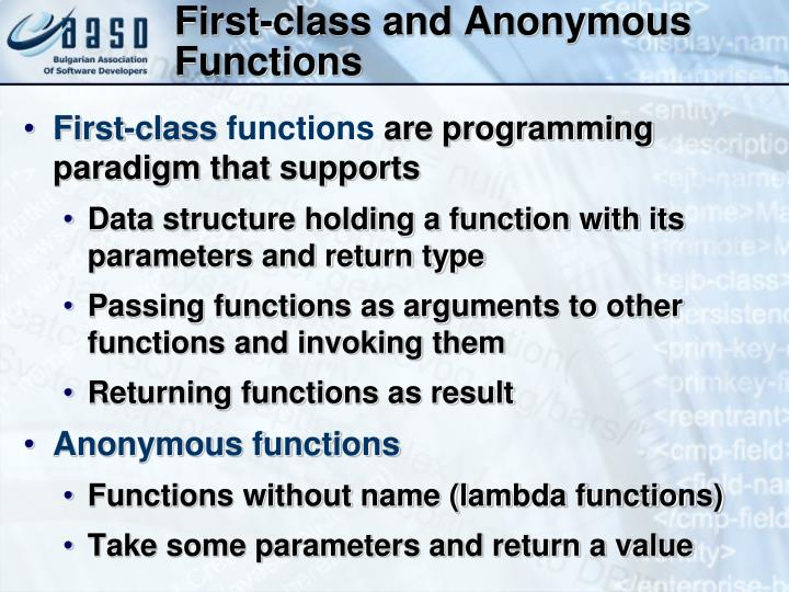 First-class and Anonymous Functions