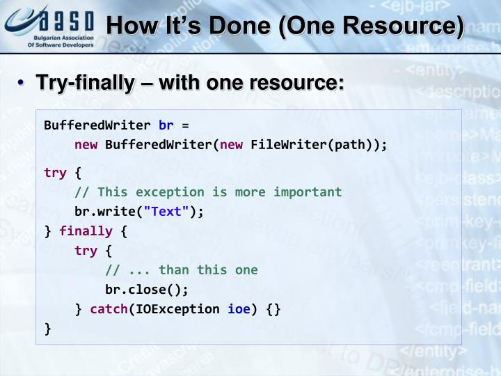How It's Done (One Resource)