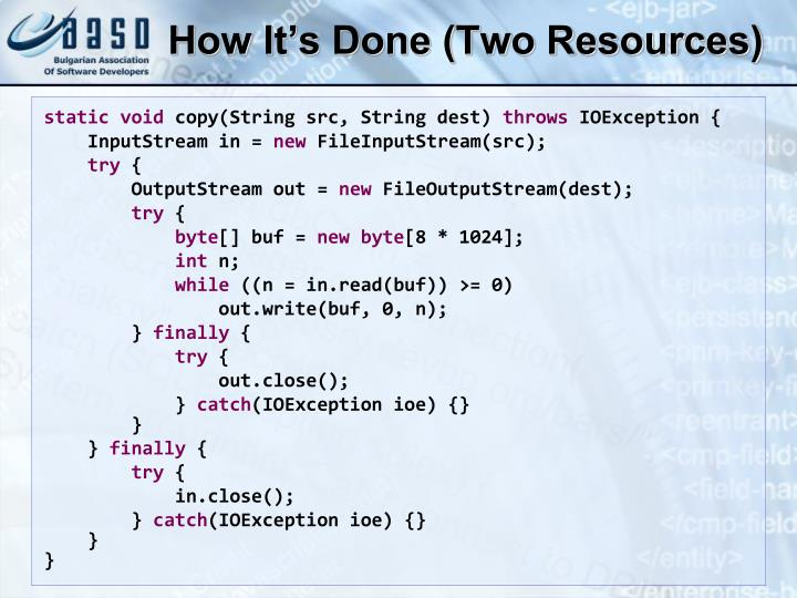 How It's Done (Two Resources)