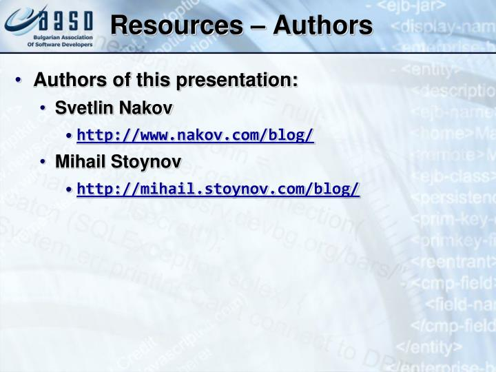 Resources – Authors