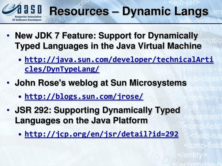 Resources – Dynamic Langs