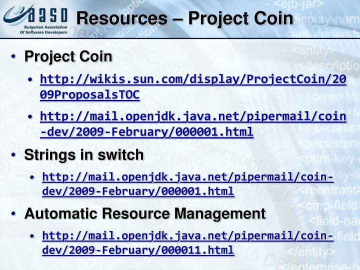 Resources – Project Coin