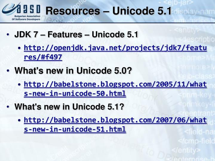 Resources – Unicode 5.1