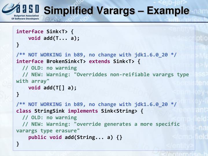 Simplified Varargs – Example
