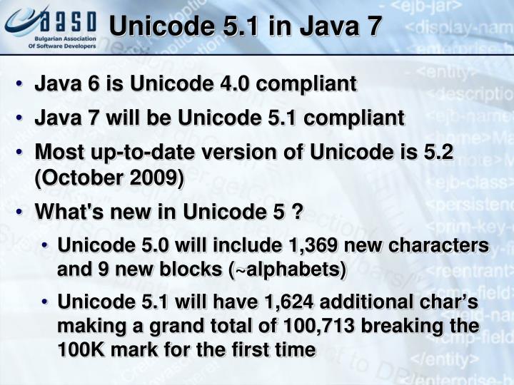 Unicode 5.1 in Java 7