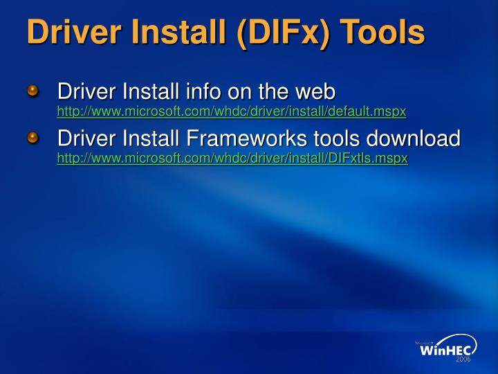 Driver Install (DIFx) Tools