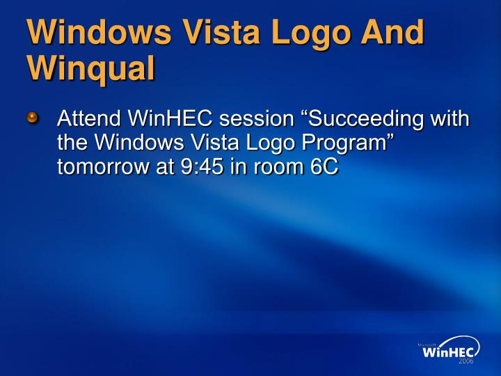 Windows Vista Logo And Winqual