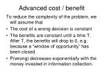 advanced cost benefit