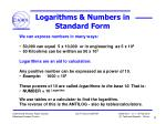 logarithms numbers in standard form