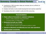 summary canada in global markets