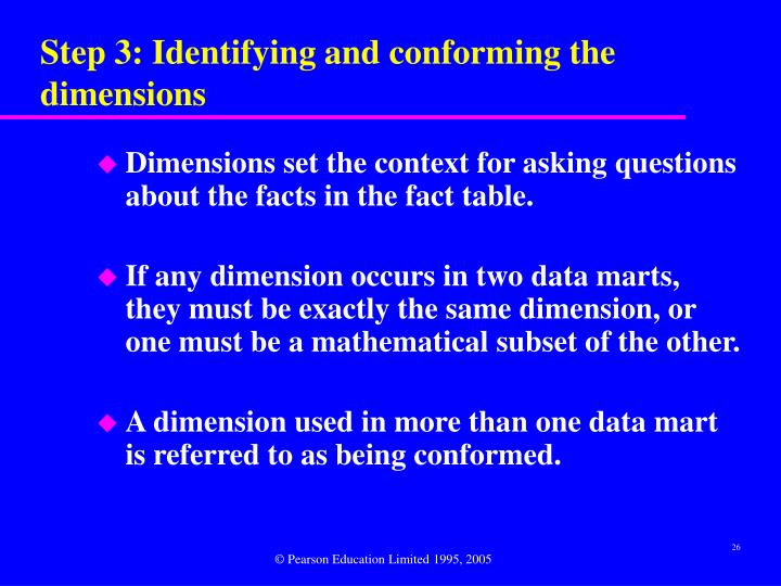 Step 3: Identifying and conforming the dimensions