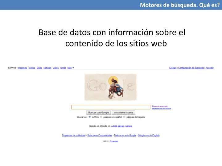 Base de datos con información sobre el contenido de los sitios web