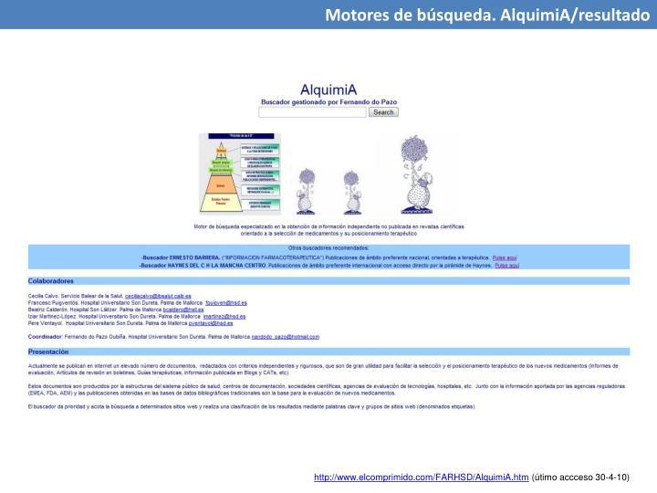 Motores de búsqueda. AlquimiA/resultado