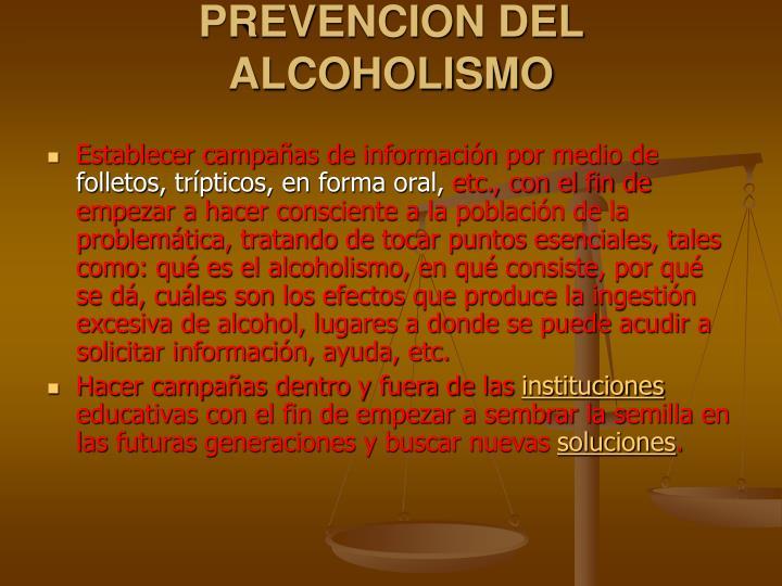 PREVENCION DEL ALCOHOLISMO