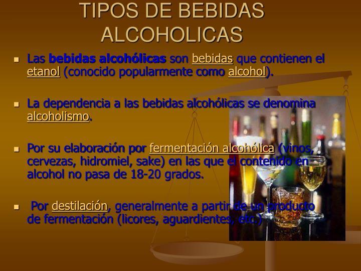 Tipos de bebidas alcoholicas