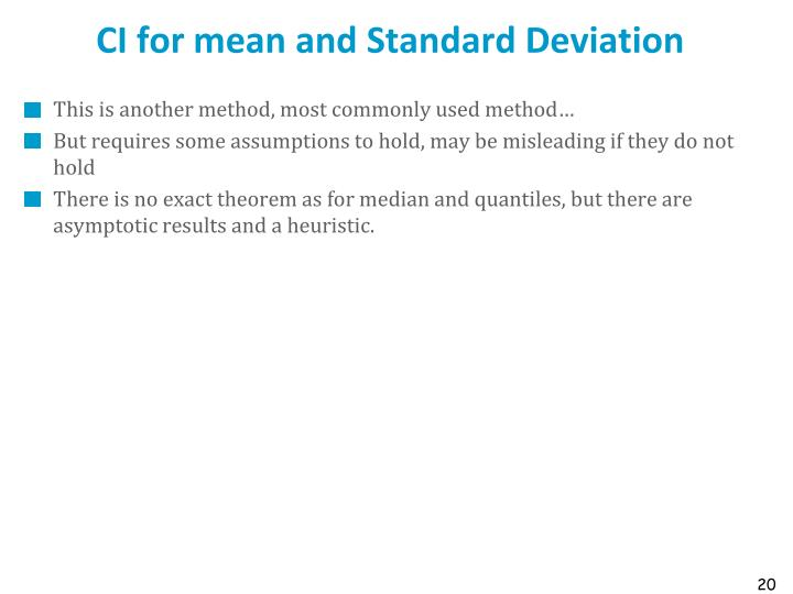 CI for mean and Standard Deviation
