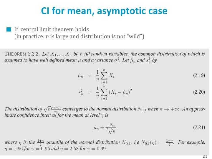 CI for mean, asymptotic case