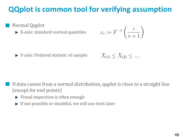QQplot is common tool for verifying assumption