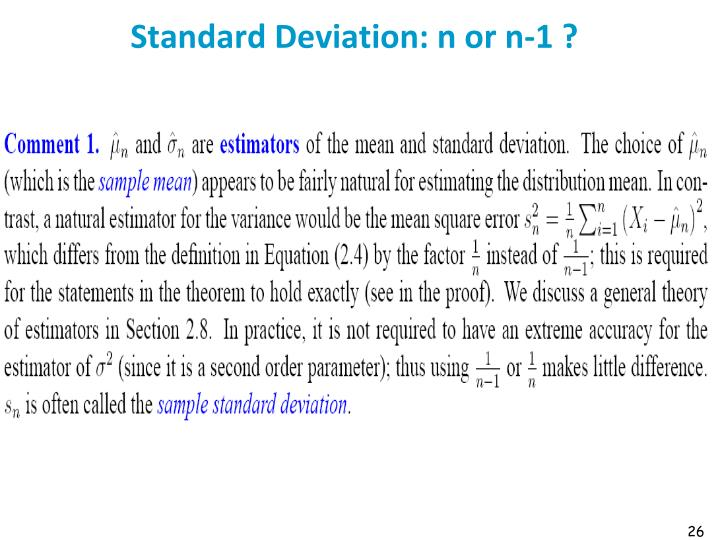 Standard Deviation: n or n-1 ?