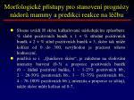 morfologick p stupy pro stanoven progn zy n dor mammy a predikci reakce na l bu1