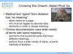 crossing the chasm babel must go