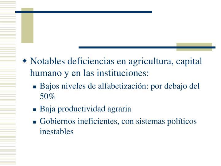 Notables deficiencias en agricultura, capital humano y en las instituciones: