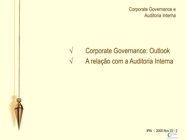 Corporate governance e auditoria interna1