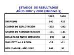 estados de resultados a os 2007 y 2008 millones
