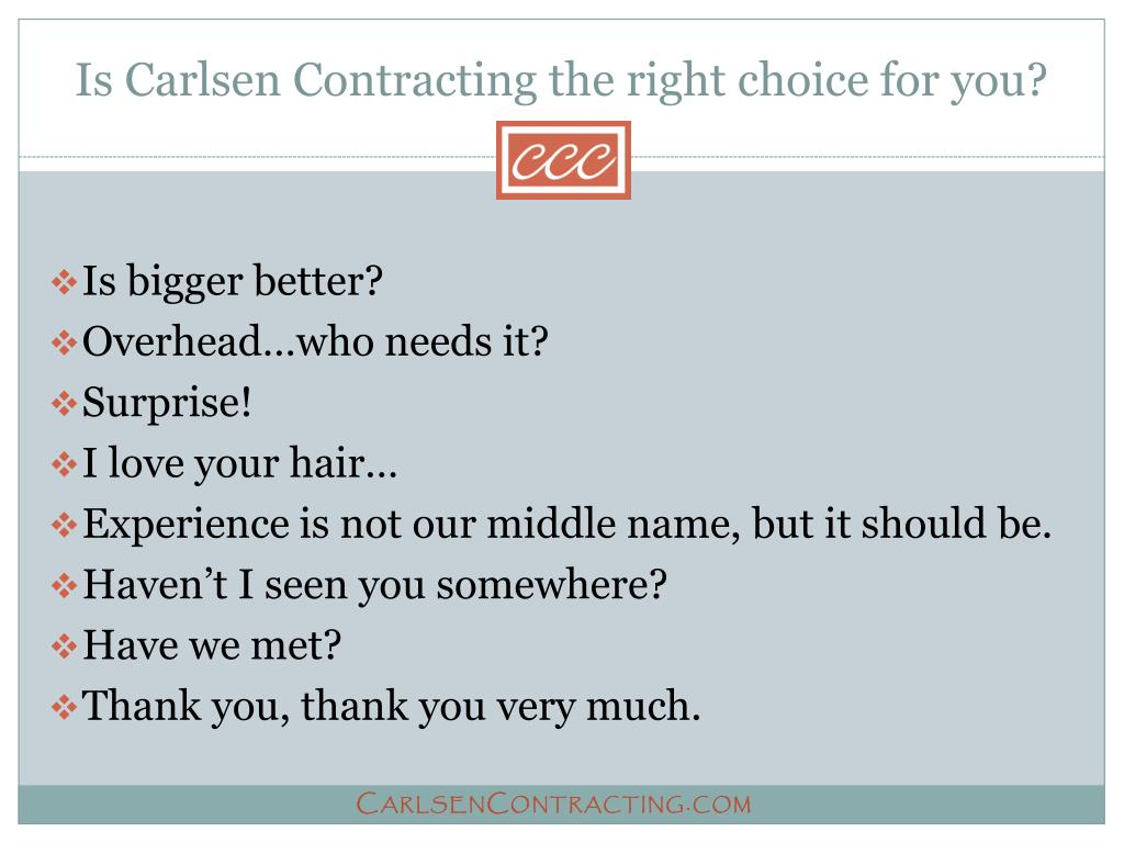 Is Carlsen Contracting the right choice for you?