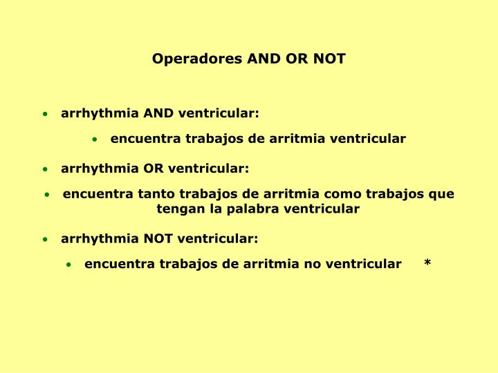 Operadores AND OR NOT