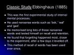 classic study ebbinghaus 1885