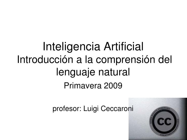 inteligencia artificial introducci n a la comprensi n del lenguaje natural n.