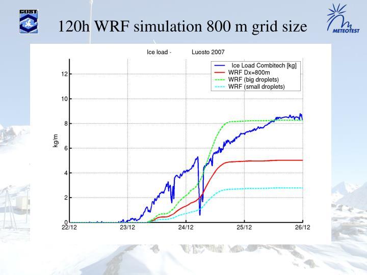 120h WRF simulation 800 m grid size