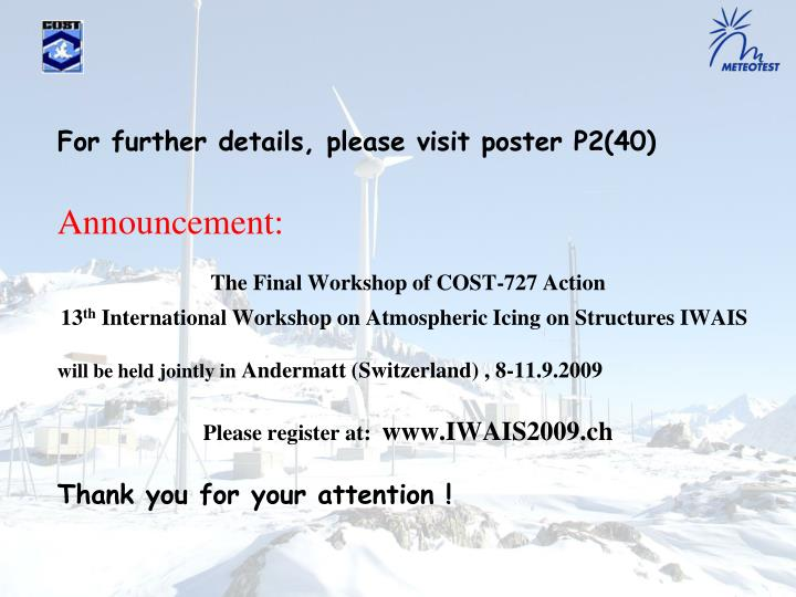 For further details, please visit poster P2(40)