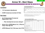 annex w next steps