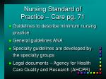nursing standard of practice care pg 71