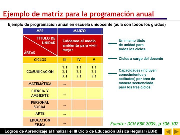 Ejemplo de matriz para la programación anual