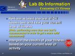 lab 8b information evaluating cv fitness